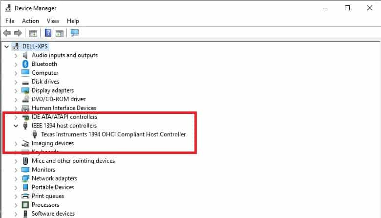 pic if device manager firewire